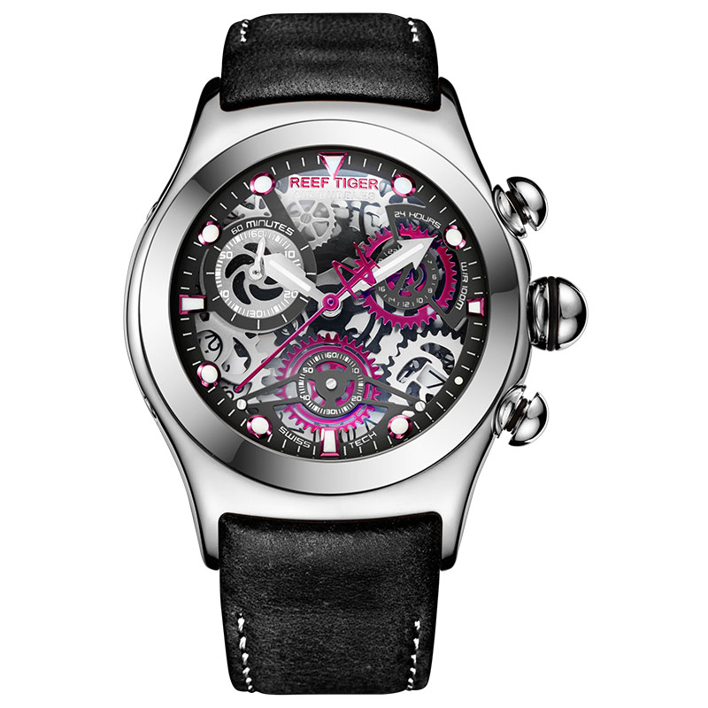 Reef Tiger/RT Mens Sport Watches With Chronograph Skeleton Dial Date Three Counters Steel Watch RGA792