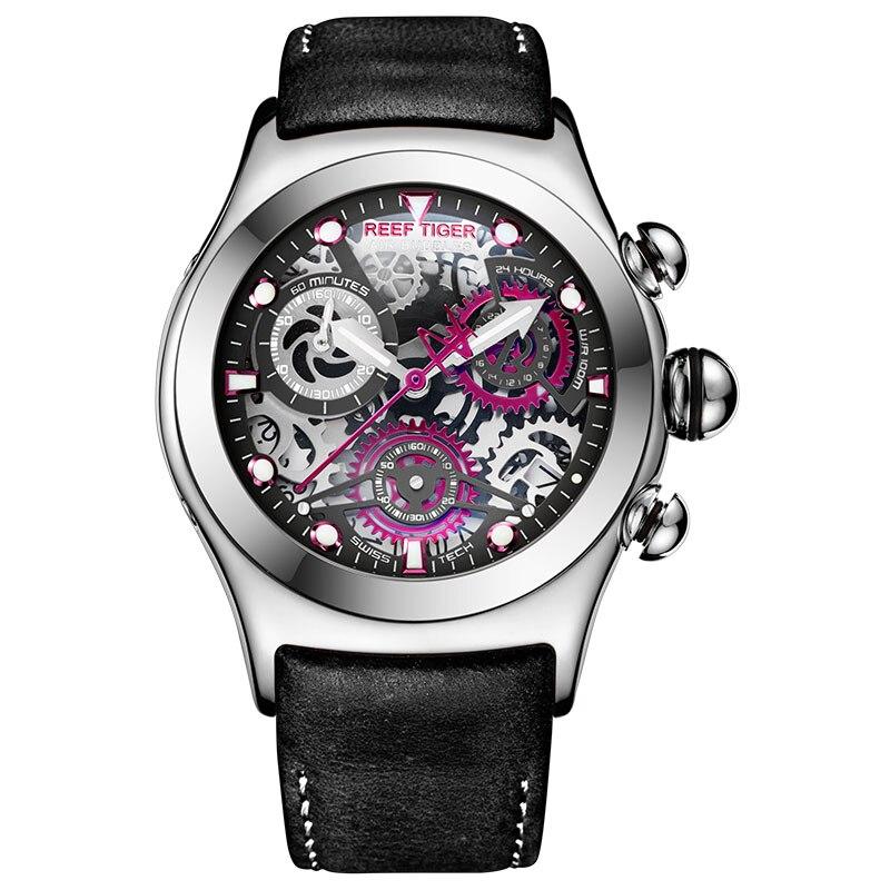 Riff Tiger/RT Herren Sport Uhren mit Chronograph Skeleton Zifferblatt Datum Drei Zähler Stahl Uhr RGA792-in Quarz-Uhren aus Uhren bei  Gruppe 1