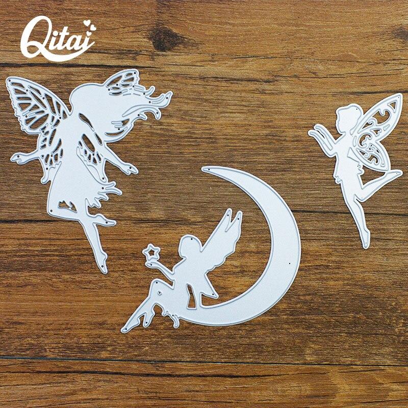 QITAI 3pcs/pack Cutting Dies Angel/Moon/Little Fairy DIY Paper Metal Material Creative Decoration Scrapbooking hot sale D127