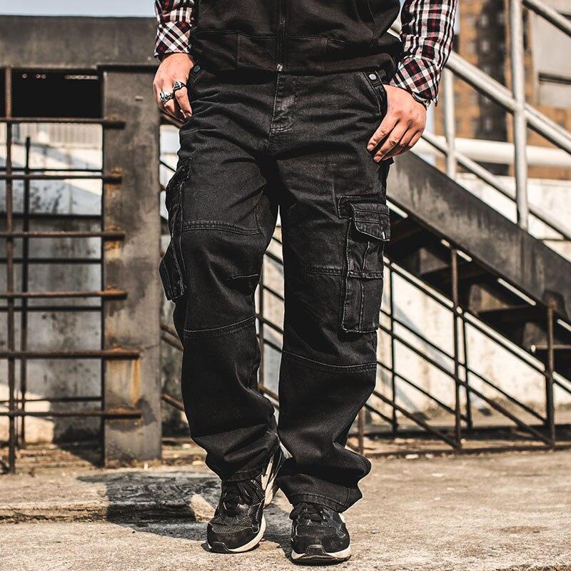 ANBOLUO Multi pocket font b Men s b font black font b jeans b font Hip