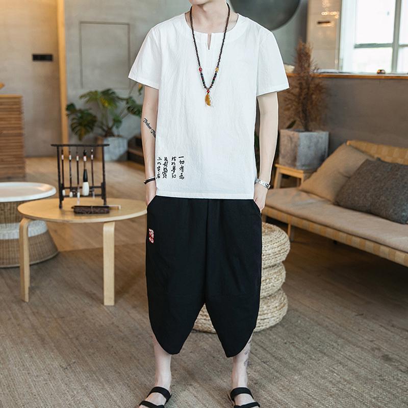 M-5XL Plus Size Summer Tracksuit Men Set Casual Streetwear Two Piece Set Top And Pants Man Clothing 2 Peice Sets XXXXXL
