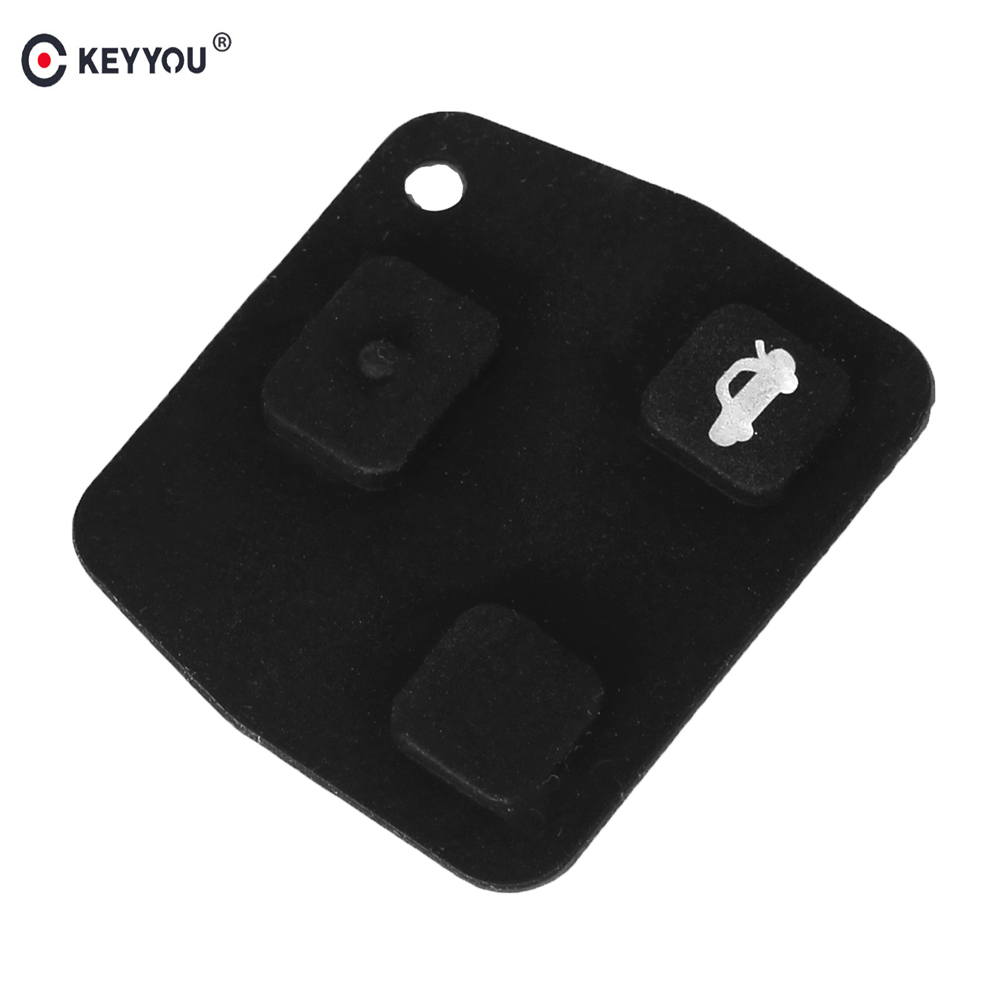 KEYYOU 50X 3 <font><b>Buttons</b></font> <font><b>Remote</b></font> Car <font><b>Key</b></font> Pad For <font><b>Toyota</b></font> <font><b>Avensis</b></font> Corolla for Lexus Rav4 Black Silicon Rubber <font><b>Button</b></font> Pad image