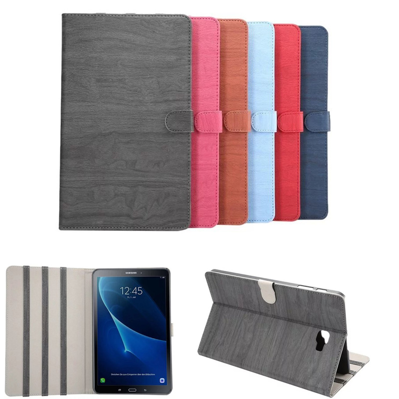 Retro Wood grain High quality PU leather Case For Samsung Galaxy Tab A A6 10.1 2016 T585 T580 T580N tablet stand Cover tab s2 9 7 inch tablet cover case for samsung galaxy tab s2 9 7 sm t810 t815 retro fashion wood pu leather original folding case