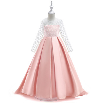 Satin Pink Flower Girl Dresses Floor Length Girls Pageant Dresses First Communion Dresses Wedding Party Dress lovely lace flower girl dresses hi low jewel neck pink long sleeve pageant dresses fluffy tiered satin girls pageant dress