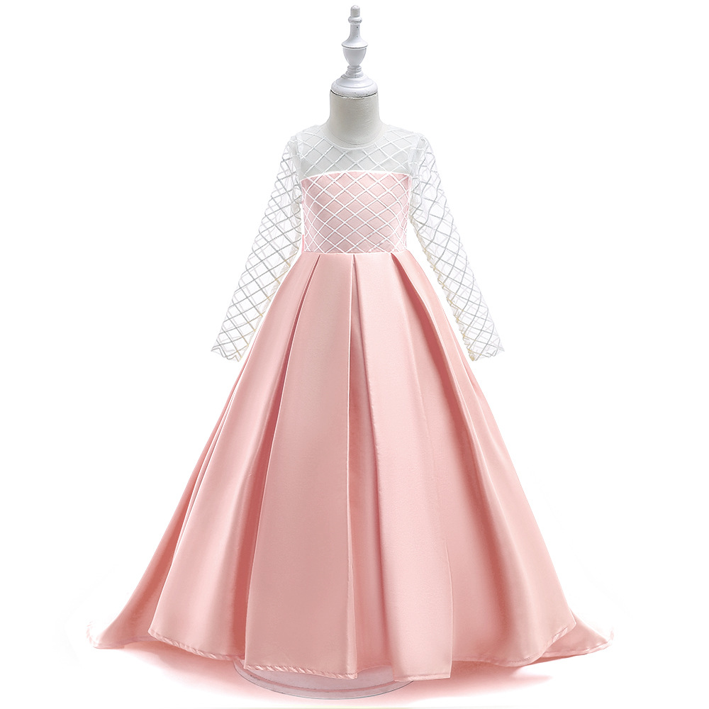 Satin Pink   Flower     Girl     Dresses   Floor Length   Girls   Pageant   Dresses   First Communion   Dresses   Wedding Party   Dress