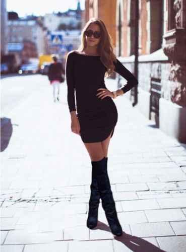 Élégant femmes solide à manches longues o-cou moulante Slim taille haute paquet-hanche Sexy courte Mini robe dame Club fête vêtements S-XL