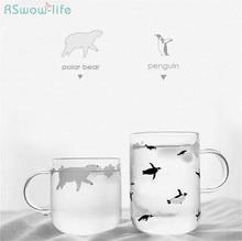 Storage Creative Fresh Water Cup Polar Handmade Glass Cute Bear Penguin Couple Gift