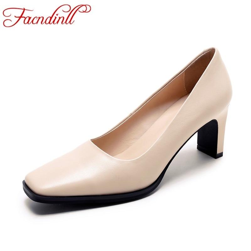 ФОТО 2017 sweet genuine leather women pumps sexy high heels square toe shoes woman pumps black beige women dress party wedding shoes