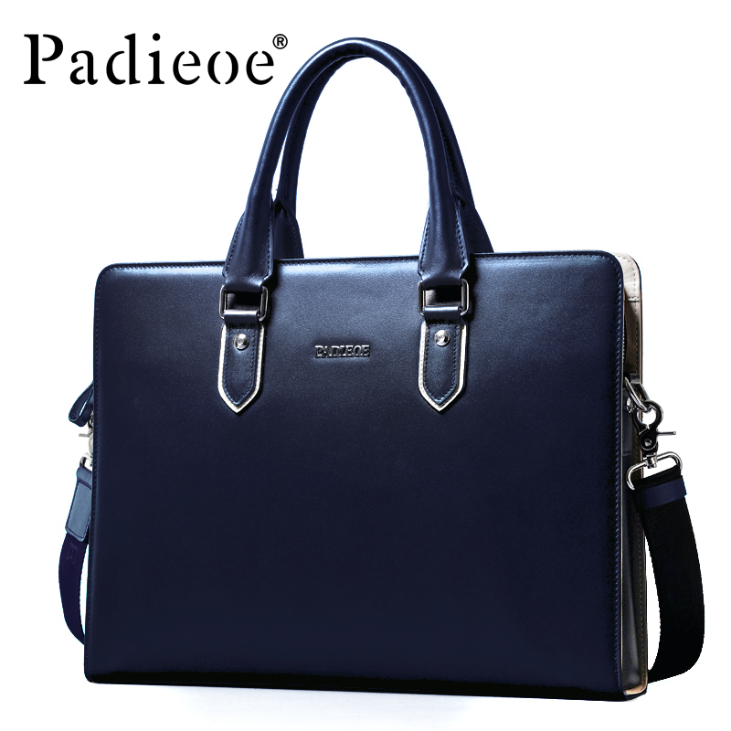 Padieoe Luxury Genuine Cow Leather Business Men Briefcase High Quality Durable man Shoulder Bag Fashion Casual male Briefcase padieoe hot sale luxury genuine leather men briefcase fashion business men shoulder bags deluxe brand durable male briefcases