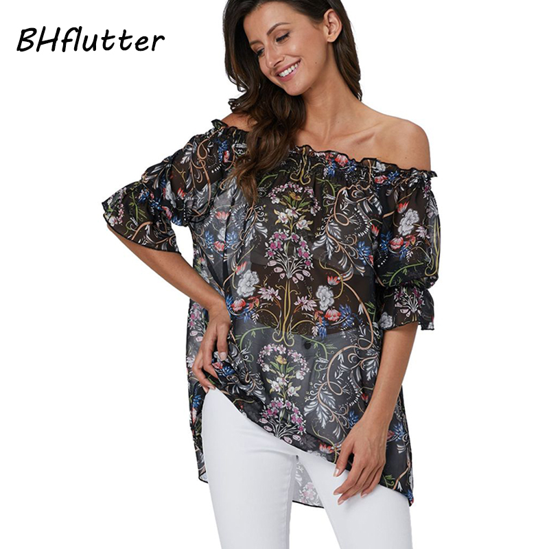 BHflutter Sexy Off Shoulder Tops Women Fashion Short Sleeve Floral Print Summer   Blouse     Shirt   Casual Loose Chiffon   Blouses   Blusas