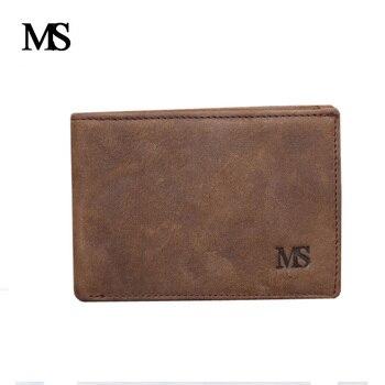 f9aeaeeb2 MS carteras de marca para hombre, monedero de cuero genuino, tarjetero,  mini Cartera