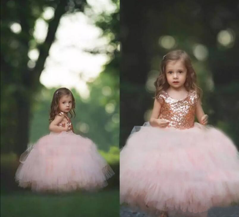 Puffy Girls Dress Rose Gold Sequins Tulle Ball Gown Flower Girls Dresses 2017 Cap Sleeve Puffy Little Girls for Wedding