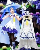 100% настоящий белый ведьма платье с накидкой и шляпа мультфильм маскарадные костюмы Хацунэ Мику волшебный