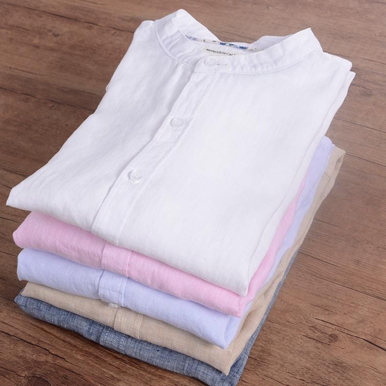 Sky blue linen shirt men summer long sleeve casual men shirts slim breathable shirt mens brand clothing mens shirts chemise 3XL 3