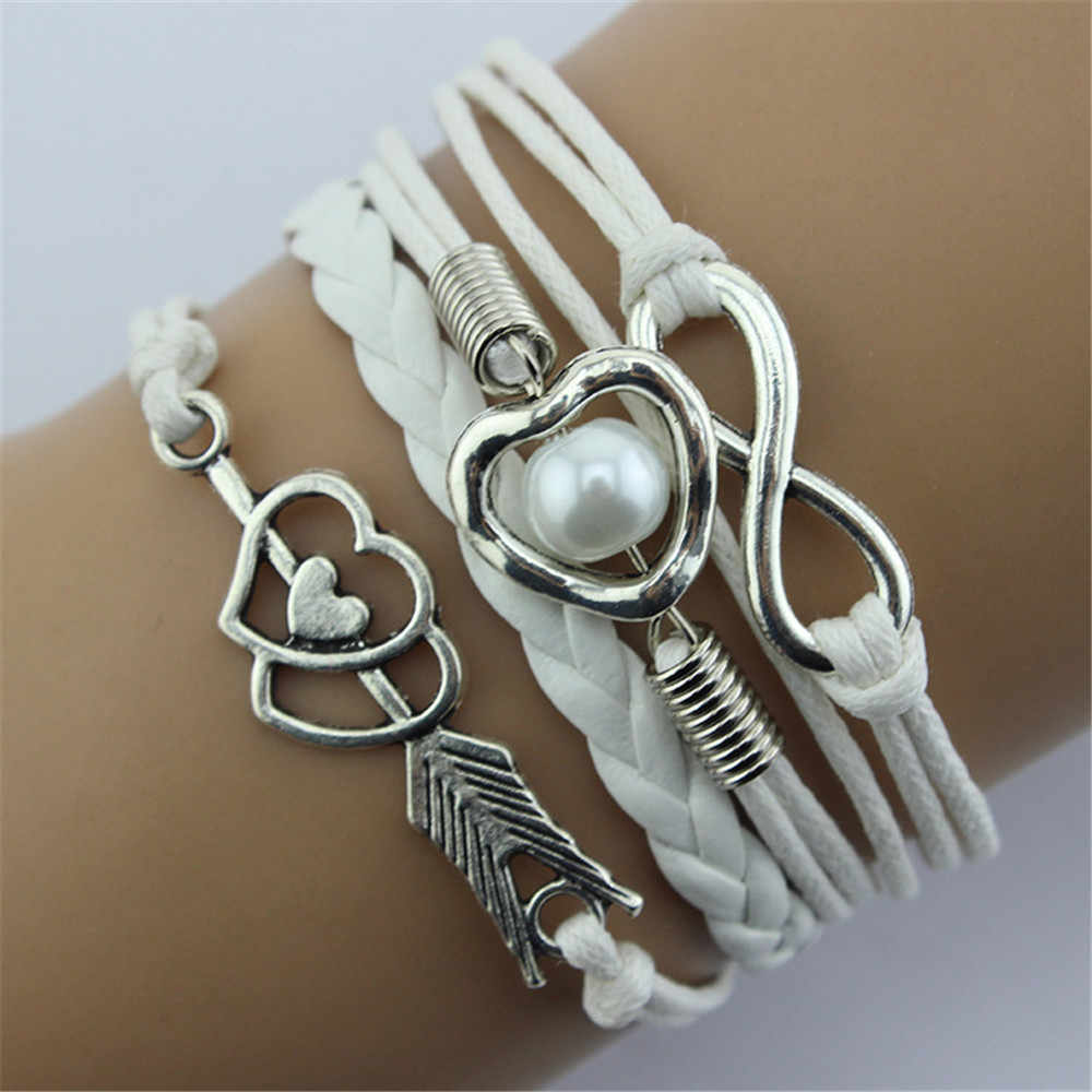 Womens Multilayer Bracelet Infinity Cupid Love Heart Wings Charms Bracelet Leather Chain Jewelry for Women Leather Rope 2019
