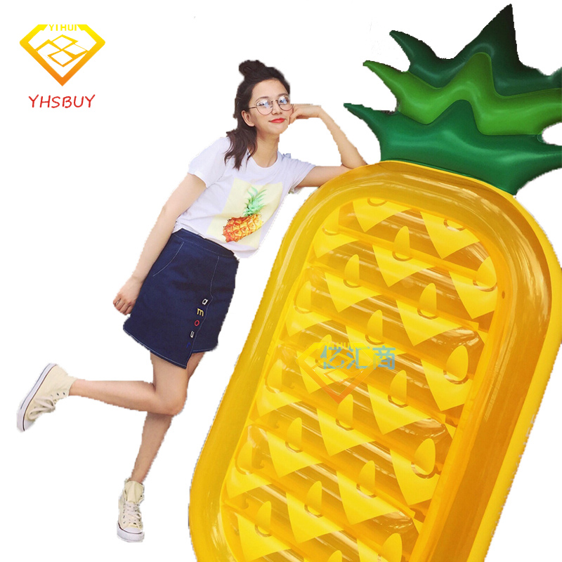 180*90*20CM Inflatable Pineapple Pool Float Summer Holiday Island Swimming Board Water Toys Raft Bed Leisure Chair Air Mattress 180 150cm giant inflatable pizza swimming pool float summer water toys outdoor fun toy beach resting lounger air mattress raft