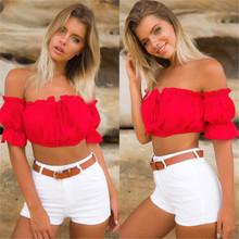 869f18f0ad3 New Sexy Womens Crop Tops Ladies Off Shoulder Summer Tops Wear Frill Bralet  Bandeau Boobtube Tops
