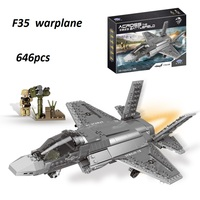 Legoed war 06026 646PCS Military Series The F35 Fighter Building Blocks Bricks Helicopter Model Kid Plane Toys Christmas Gift