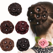 Female Wig Hair Ring Curly Bride Makeup Diamond Bun Flowers Chignon Hairpiece Fashion Christmas Gift F11.9(China)