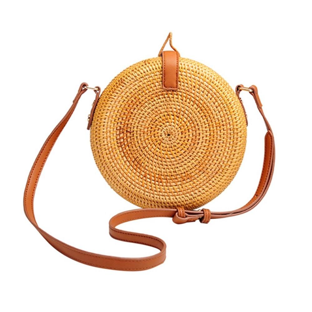 OUTAD Women Bag Bohemia Pastoral Round Straw Bag Female Rattan Summer Beach Shoulder Bag For Ladies