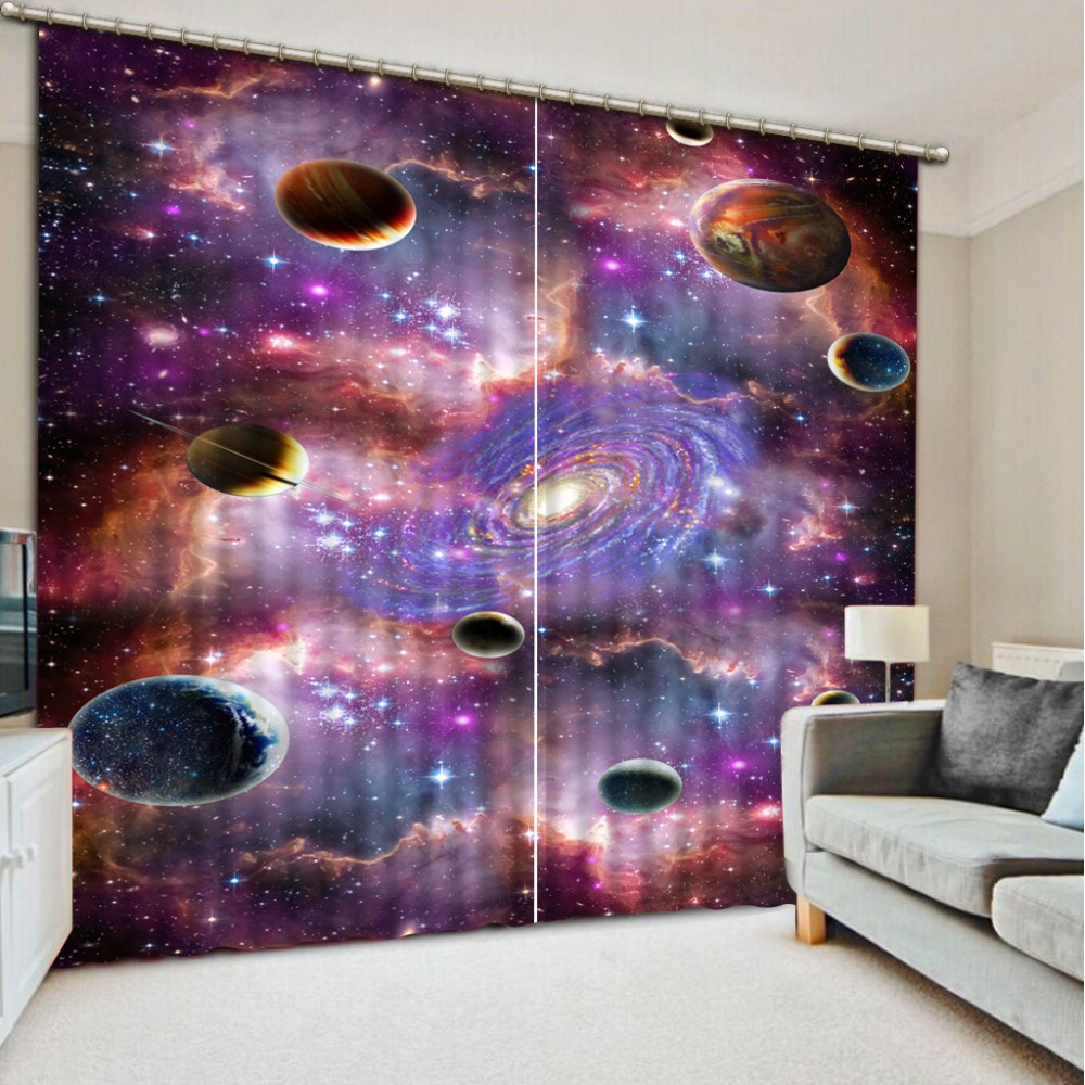 stereoscopic window curtain 3d custom Planet living room bedroom kids blackout curtains  stereoscopic window curtain 3d custom Planet living room bedroom kids blackout curtains
