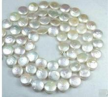 цена на Women Gift Freshwater 11-12MM White Coin Real Natural Pearl Jewelry Gorgeous Necklace 30