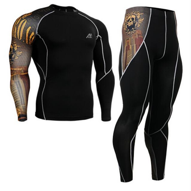 Life on track Cycling sports Compression Base Layer Shirt Workout riding Long Sleeve crossfit Shirt & Pants suit