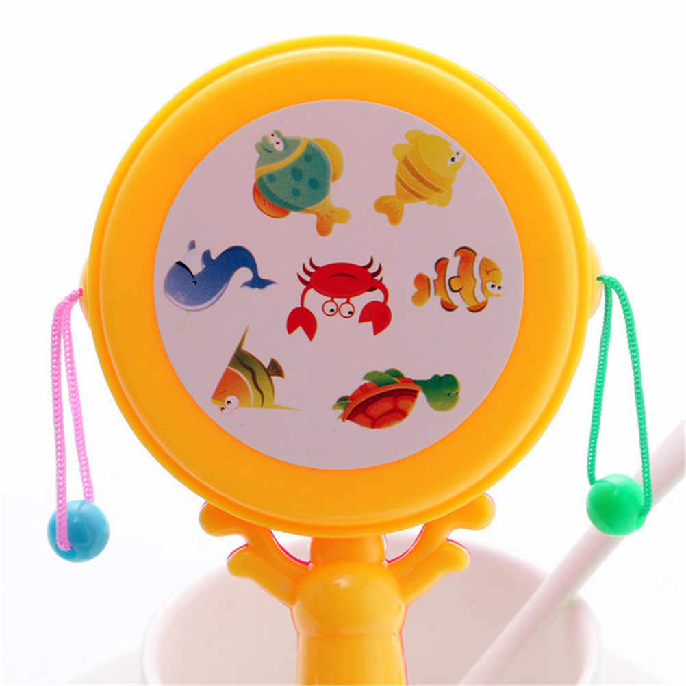 Juguetes de peluche sonajero de bebé sonajero Pellet tambor de dibujos animados instrumento Musical juguete para niños regalo juguetes de bebé Color al azar