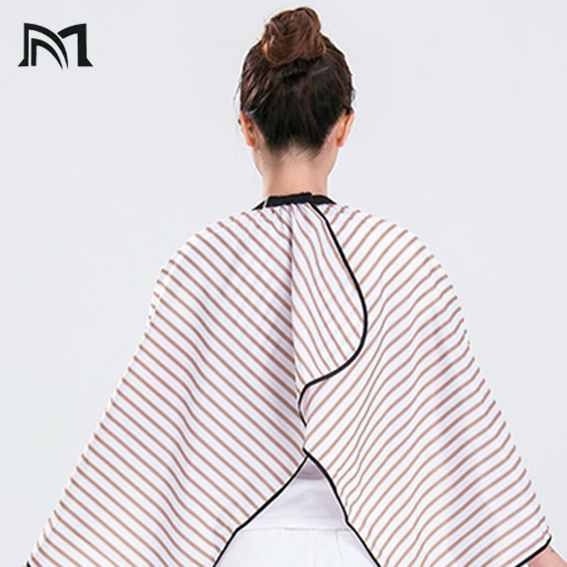 Купить с кэшбэком customizable 2 Colors Polyester Salon Wrap Apron Stripe Leisure Style Peri Cloth Water-repellent Cape Hairdressing Assistant B1