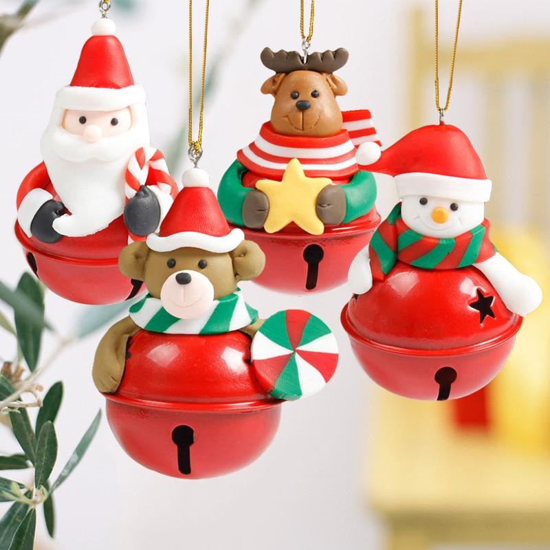 6x8 см колокол Дизайн Рождество завесы мультфильм Рождество дерево кукла колокола с Санта Клаусом и снеговиком Милый Колокольчик Украшения ... ...