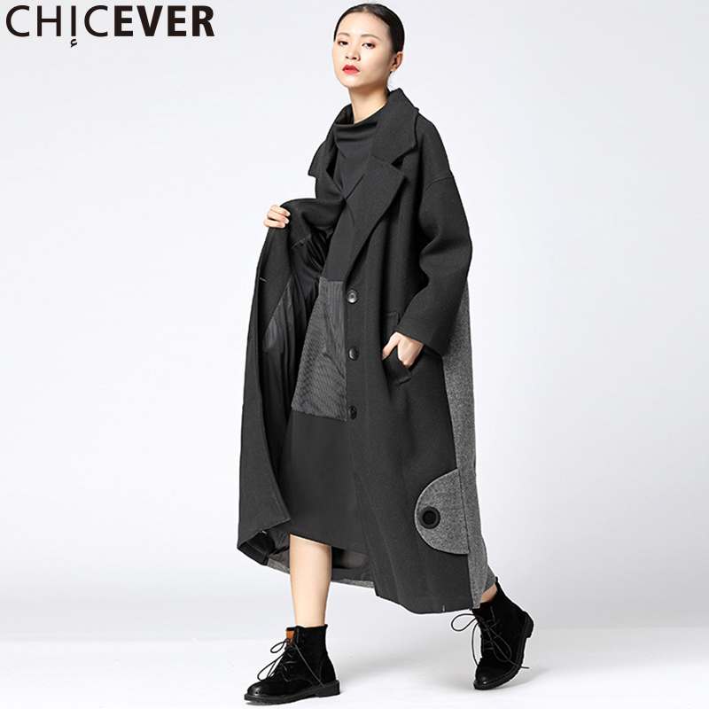CHICEVER Vintage Patchwork Hit Colors Trench Coat Female Womens Windbreaker Loose Black Winter Basic Coats Outwear Clothes 2017