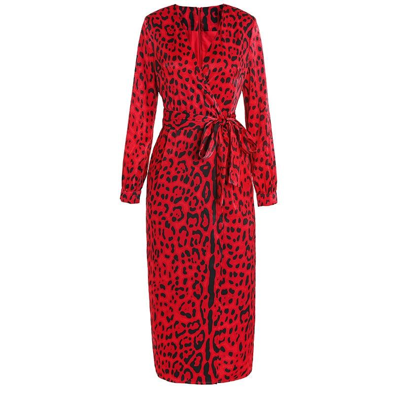 Women kimono V neck wrap sexy dress red animal leopard print long sleeve dresses new 2019 spring summer chiffon satin