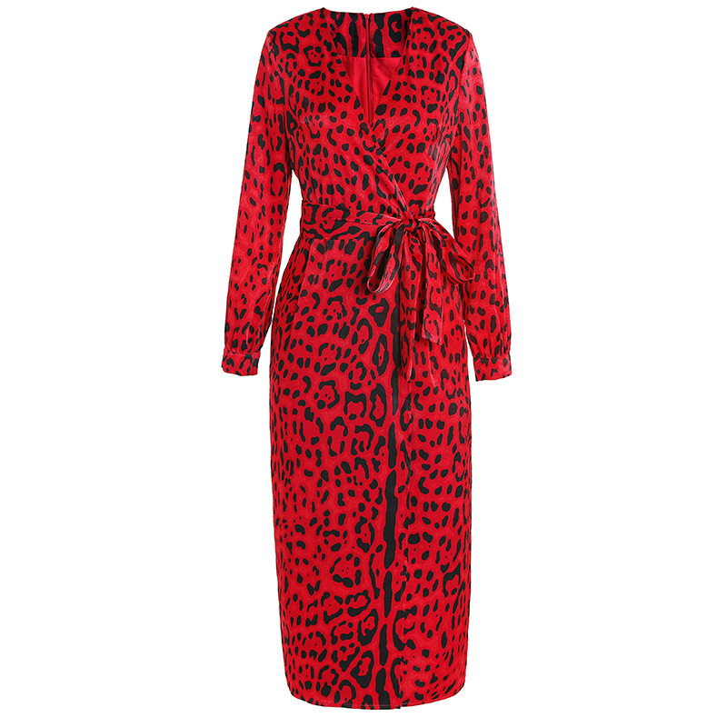 f4322e5a64 Detail Feedback Questions about Women kimono V neck wrap sexy dress red  animal leopard print long sleeve dresses new 2019 spring summer chiffon  satin on ...