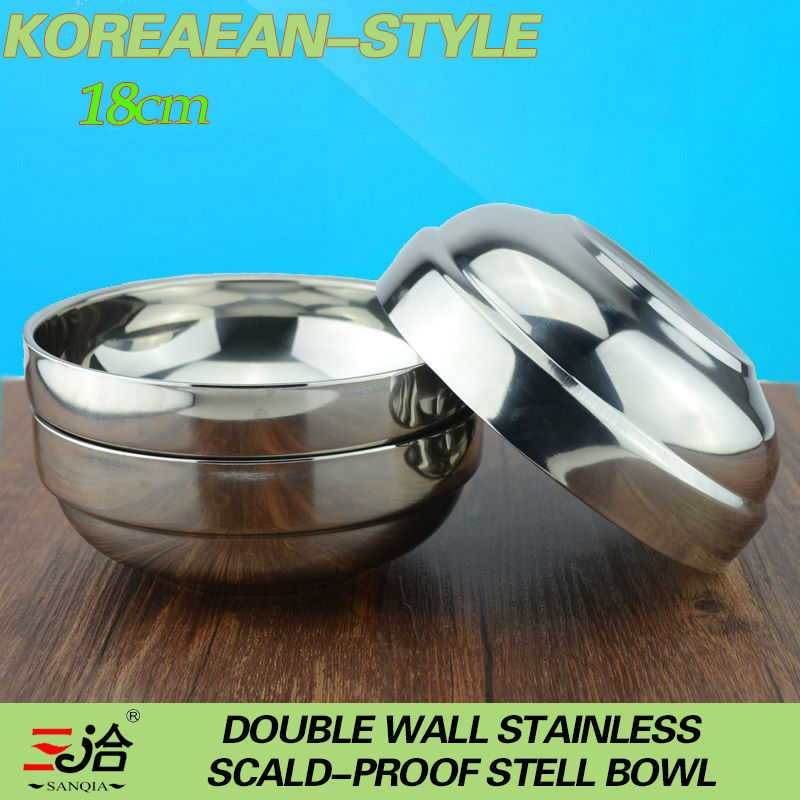 wholesale /retail 18cm/1000ml hight quality stainless steel double wall anti-hot Korean bowl picnic tableware 5 pieces/lot