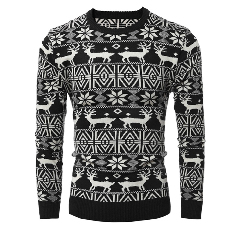 New 2016 Winter Mens Thick Fashion Warm Christmas Sweater With Deer Print Casual Pullovers Sweaters Men Sweater