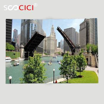 Custom Soft Fleece Throw Blanket United States Downtown Chicago Illinois Finance Business Center Lake Michigan Avenue Bridge