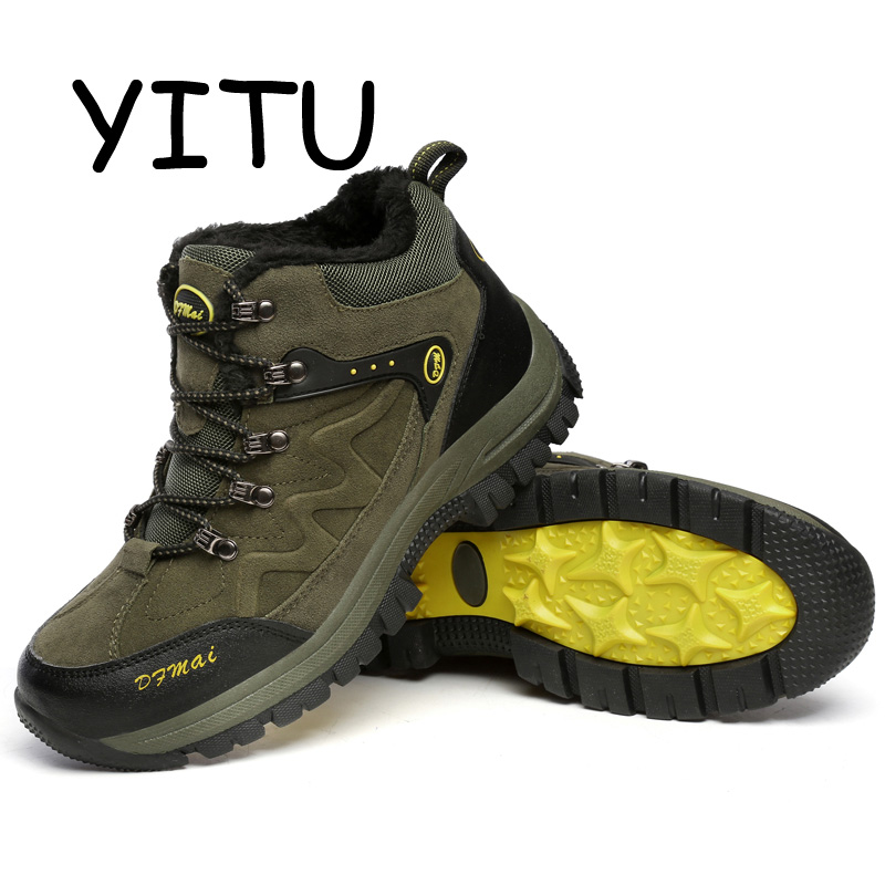 YITU 2018 Fur Trekking Hiking Shoes Breathable Leather Outdoor Boots Winter Sneakers For Men Mountain Climbing Shoes Large Size 2017 new autumn winter trekking boots men size 38 45 climbing shoes fur warm hiking sneakers blue black men mountain boots