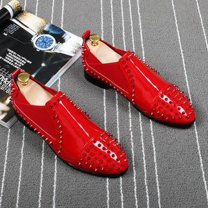 bf056879b823 FMZXG 2018 Top Red black Men Spikes Loafers Casual shoes