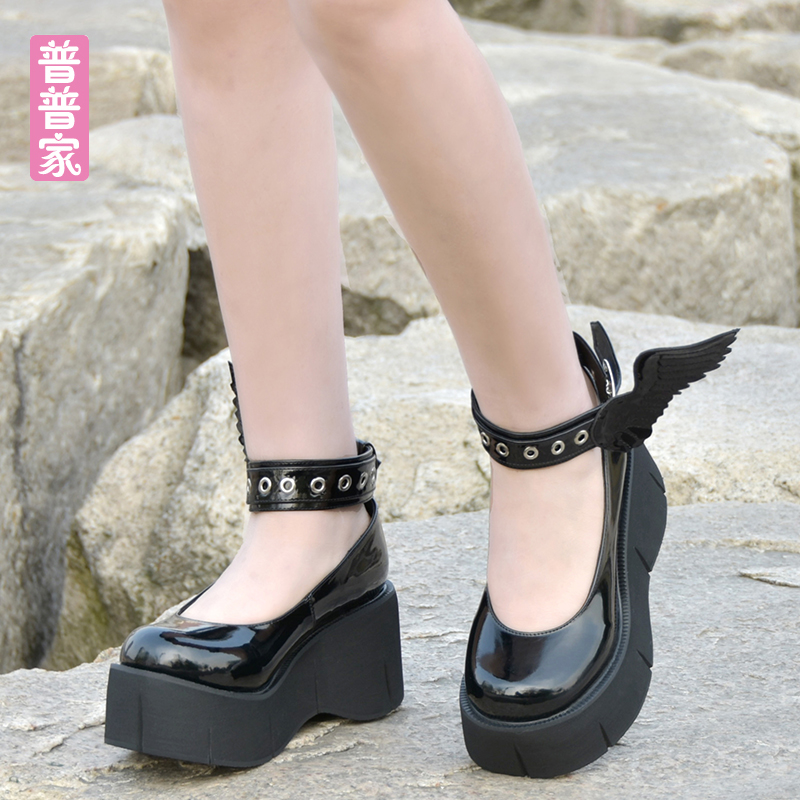 Princess sweet lolita shoes Custom shoes Gothic Wind Super High-heeled Devil Wing Thick-soled Muffin Shoes women pu937