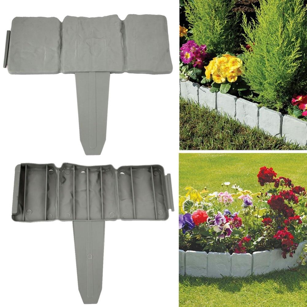 5 Pcs Artificial Garden Fence - Stone Pebble Wall Border