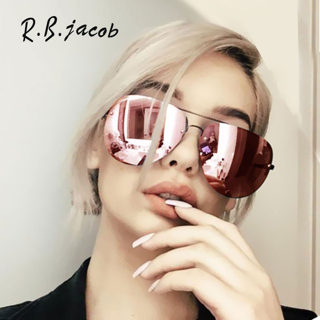 9443f9aff4 Rose Gold Classic Aviation Women Sunglasses Mirror Summer Style Fashion  Glasses Vintage Sexy Lady Sun Glasses Hot Sale Rimless