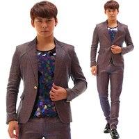 Синий фиолетовый постепенное изменение флэш порошок костюм брюки набор DJ DS ночной клуб певец хлопок тонкий популярный костюм