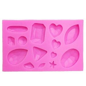 Image 2 - M0174 미니 보석 다이아몬드 모양의 퐁당 케이크 초콜릿 도구 캔디 실리콘 몰드 몰드
