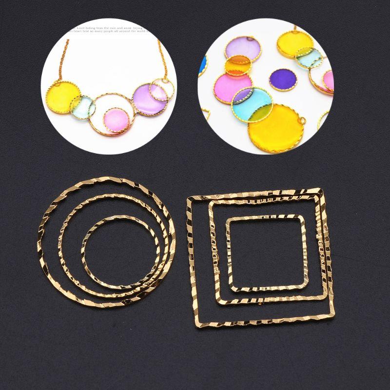 10Pcs Round Square Geometric Metal Frame Jewelry UV Resin Charms Bezel Setting