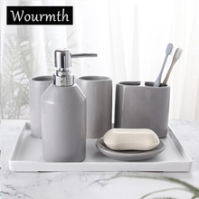 Wourmth 5PCS Ceramic Bathroom Washing sets of Home Decoration 5 Color Simple Soap Dish Toothbrush holder Hand soap Full set