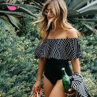 2017 Shoulder Off One Piece Swimsuit Swimwear Women Bathing Suit Swim Vintage Summer Beach Monokini Brazilian