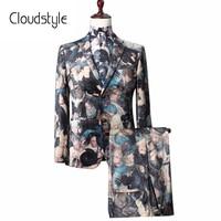 2018 Cloudstyle New Arrival Fashion Brand Floral Print Suit Jackets Pants New 3D Print Design Party