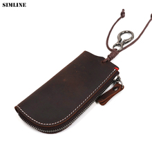 купить SIMLINE Vintage Handmade Genuine Leather Key Holder Wallet Men Crazy Horse Zipper Car Key Case Cover Organizer Housekeeper Bag по цене 540.52 рублей