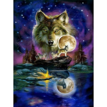 Megayouput 3D diy diamond painting cross stitch kit  embroidery Wolf diagram picture mosaic pattern wall sticker gift