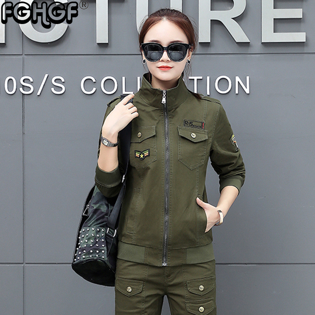 e0db17cb5231d Women Military Army Green Jacket With Epaulets New 2018 Ladies Army Jackets  Embroidery Womens Casual Cargo Jacket 3852